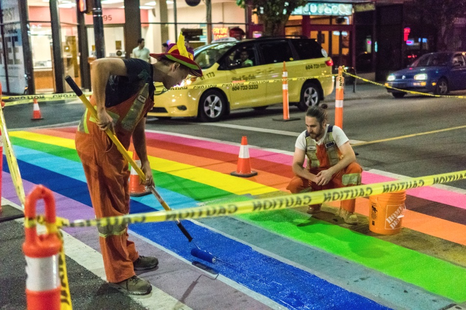 Hitex North America installs rainbow crossing for Vancouver Pride Festival